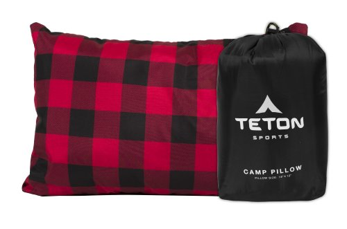TETON Sports Camp Pillow; Perfect Anytime You Travel; Camping, Backpacking, Airplanes, and Road Trips; You Can Take It Anywhere and it's Washable; Black