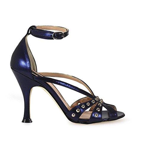 Cuir Femme Bleu 1P20XRY3FFG21 Pinko Sandales Btfnq6Tddw