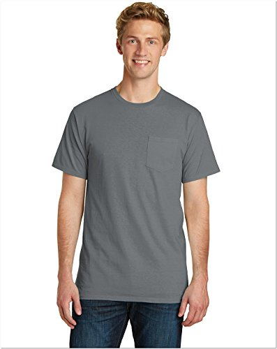 Port & Company Mens Essential Pigment-Dyed Pocket Tee PC099P -Pewter (Pigment Dyed Cotton Pocket Tee)