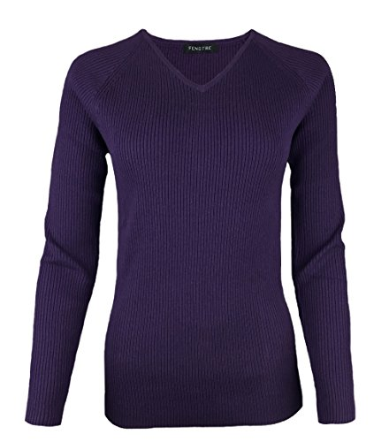 Fengtre Women's Tencel Cashmere Knit Warm V-neck Stretch Long Sleeve Soft Pullover Loose Sweater,Dark-purple