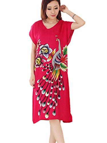 Women s Sleepwear Long Cotton Thin Peacock Nightdress Pajamas V-Neck  Nightgown Sleepdress 1b5eb5d5b