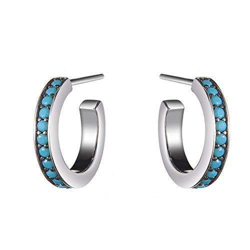Javeny 925 Sterling Silver Half Hoop CZ Cubic Zirconia Wedding Bridal Stud Earrings For Women (Turquoise)