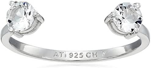 Sterling Silver Swarovski Crystal Open Ring, Size 7