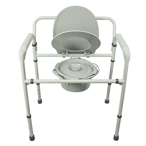 Extra Wide Seat - Bariatric Bedside Commode by Vive - 3 in 1 Toilet Chair - Extra Wide, Pre-Assembled & Folding - Heavy Duty Bathroom Seat Bucket Pail Fits Standard Liners