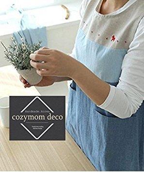 Cozymom Japanese Style Back Button Shape Natural Linen Cotton Apron-blue Color
