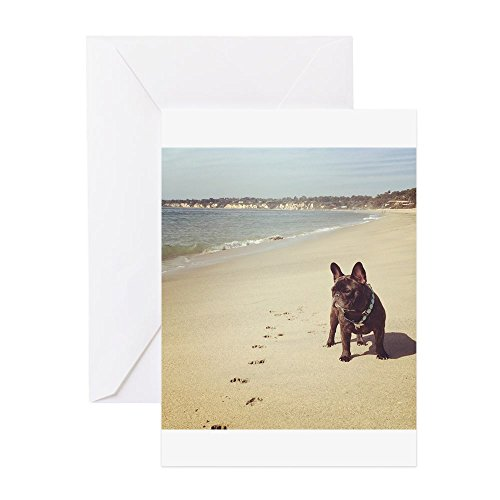 CafePress - French Bulldog On The Beach Greeting Cards - Greeting Card, Note Card, Birthday Card, Blank Inside Glossy ()