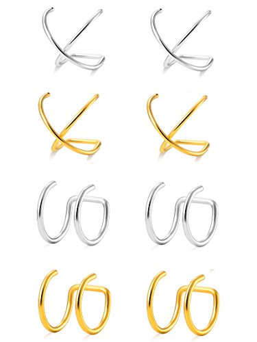 Tornito 4 Pairs Stainless Steel Ear Cuff Helix Cartilage Clip On Wrap Earrings Fake Nose Ring Non-Piercing Adjustable (E:4 Pairs, Silver&Gold Tone) ()
