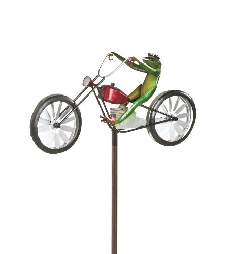 - Frog Riding Motorcycle Metal Wind Spinner - 23.5 L x 10.37 W x 4.87 H