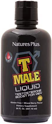 NaturesPlus T Male Liquid - 30 fl ozs - Mixed Berry Flavor - Fast-Acting Natural Testosterone Boost For Men - Promotes Muscle Gain, Stamina & Sexual Health - Vegetarian, Gluten-Free - 30 Servings