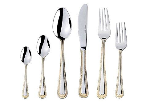 Stainless Flatware Collection (Italian Collection 75-Piece Premium Surgical Stainless Steel Silverware Flatware Set 18/10, Service for 12, 24K Gold-Plated Hostess Serving Set (Verona))