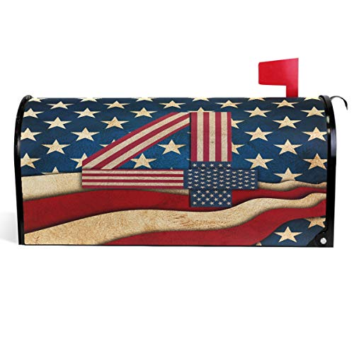 (Wamika 4th of July Independence Day Mailbox Covers Magnetic USA American Flag Mailbox Cover Patriotic Mailbox Wraps Post Letter Box Cover Garden Decor Standard Size 18