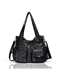 Angelkiss Purses and Handbags for Women/Ladies by Washed PU Leather Crossbody Bag Tote Large Bags for School/Roomy Satchel/Top Handle Hobo Shoulder Bags 5739/1