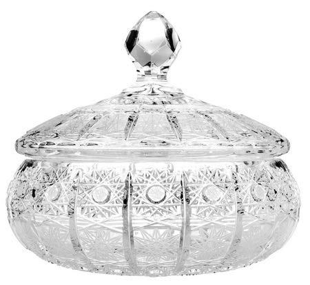 Clear Hand Cut Crystal Jewels - Aurum Crystal AU50222, 8'' Crystal Jewelry Box with Hand Cut Design, Home Decor Vintage Jewel Trinket Casket with Cover, Small Decorative Covered Candy Jar with Lid, Wedding Gift