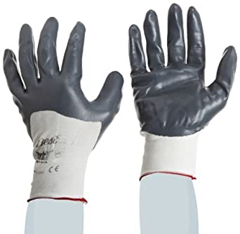 SHOWA 4575 Zorb-IT Palm-Dipped E Sponge Nitrile Glove, Seamless Nylon Liner, Color-Coded Cuff, General Purpose Work, Small (Pack of 12 Pairs)