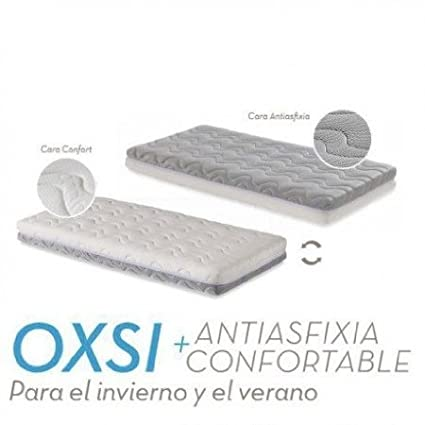 Ecus Kids Oxsi Colchón Cuna Oxígena HR con cremallera perimetral 120x60 + Protector 2 en 1