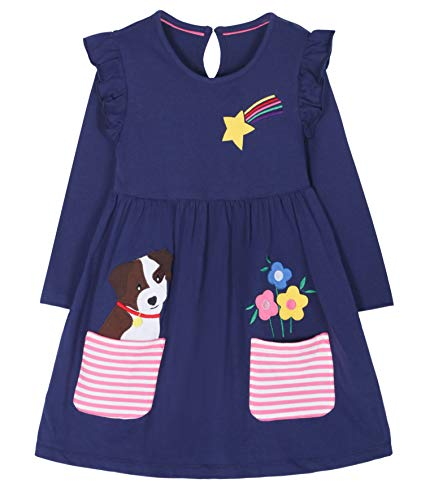 Fiream Cartoon Cotton Kids Dresses Longsleeve Toddler Girls