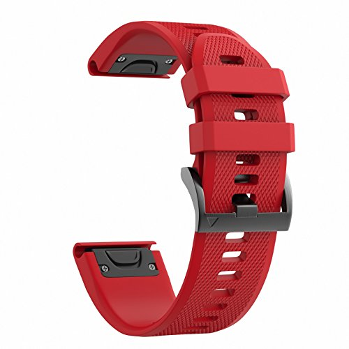 ANCOOL for Garmin Fenix 5 Band Easy Fit 22mm Width Soft Silicone Watch Strap for Garmin Fenix 5/Fenix 5 Plus/Forerunner 935/Approach S60/Quatix 5 [NOT for Fenix 5X] - Red