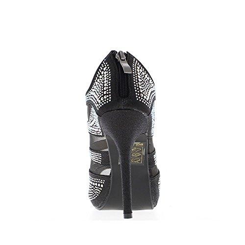 Low-boots femme noirs ouverts à talon de 11cm et plateau 2cm
