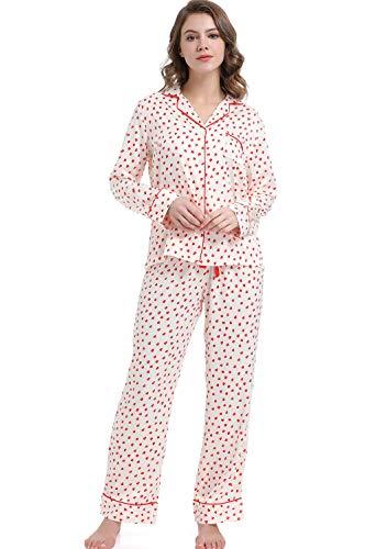 Serenedelicacy Women's Silky Satin Pajamas, Button Up Long Sleeve PJ Set Sleepwear Loungewear (Medium / 8-10, Hearts Bright Cerise) (Cerise Heart)