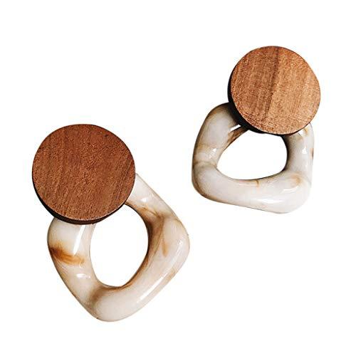 ( AIUSD Clearance , New Fashion Resin Large Earrings For Women Wooden Earrings Jewelry)