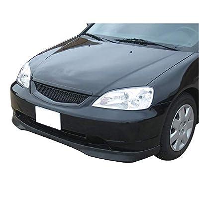 IKON MOTORSPORTS | Front Bumper Lip Compatible With 2001-2003 Honda Civic Coupe & Sedan | T-R Style Painted #BG51M Opal Silver Blue Metallic PP Polypropylene Air Chin Spoiler: Automotive