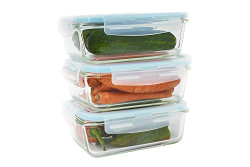 Glass Food Container Set (6 Pieces, 28 Oz, Rectangle) with Snap on Airtight Lids by Western Ridge (Western Glass)