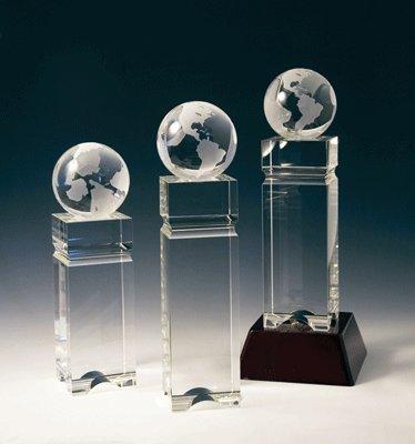 Crystal Globe Double Block Tower Crystal Award - Large ()
