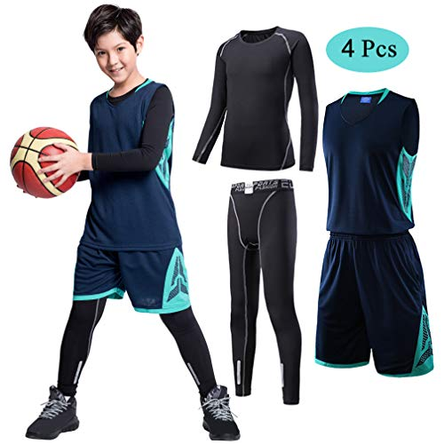 (TERODACO Kids Basketball Jersey and Shorts Set W Long Sleeve Compression Thermal Shirts and Leggings 4PCS Suit for Boys & Girls Navy &)