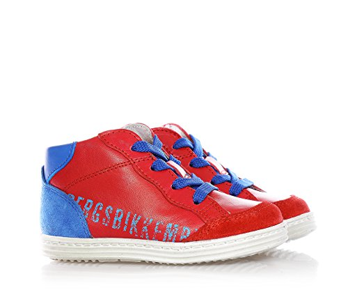 Bikkembergs Rot-blaue Sneakers mit Schnürsenkel, aus Leder, seitlich ein Reißverschluss, Jungen