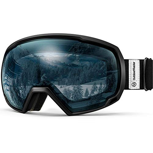 OutdoorMaster OTG Ski Goggles - Over Glasses Ski / Snowboard Goggles for Men, Women & Youth - 100% UV Protection (Black Frame + VLT 60% Light Blue ()