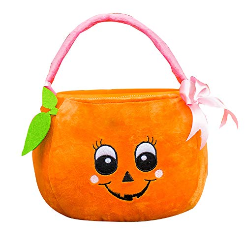 GiftsForYouNow Little Girl Pumpkin Trick or Treat Basket with Bow]()