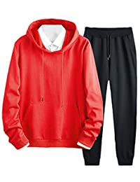 Wofupowga-CA Men's Hooded Sportwear Outfits 2 Piece Sweatshirt Pants Tracksuit Set