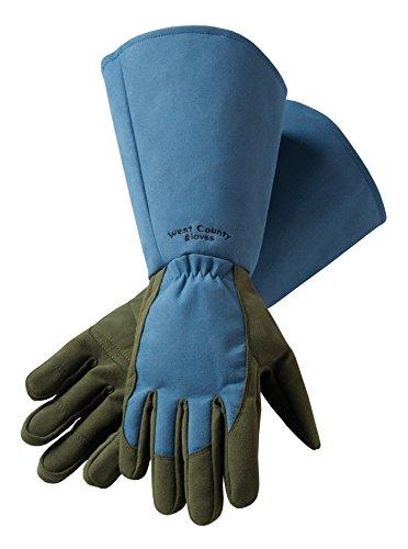 West County Gardener 054BM Gauntlet Rose Glove, Medium, Slate - County West