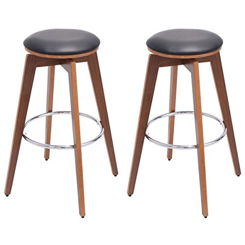 Non Swivel Stool Set - COSTWAY Bentwood Bar Stools Set of 2 Swivel PU Leather Modern Comfortable Armless Counter Height Bistro Pub Barstools Set Home Kitchen Office Furniture