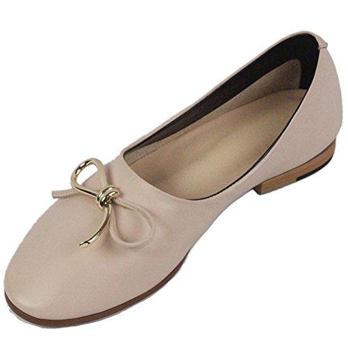 HooH Damen Ballerinas Genuine Leather Round Toe Bowknot Klassisch Beiläufig Flats Schuhe Slip On Pink