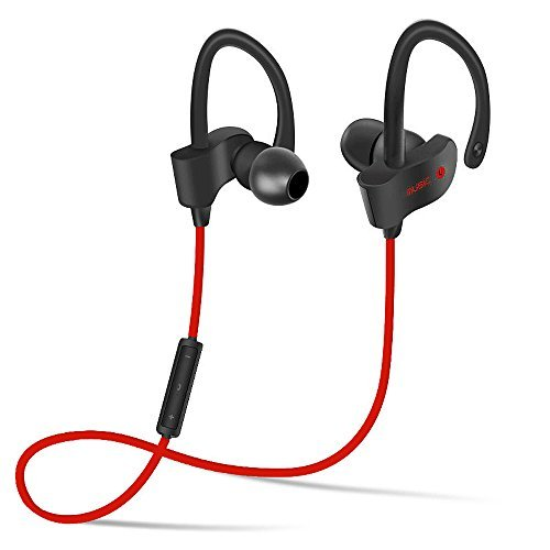 YuHoves Bluetooth Headset, Sport Bluetooth Earbuds - Sweat-proof, Waterproof Headphones with Noise Cancellation Technology, Microphone & Voice prompts ( Red )