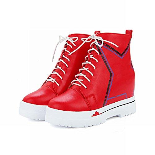Latasa Women Fashion Lace up Platform Short Oxford Wedges Boots Red EgYe7wKlN