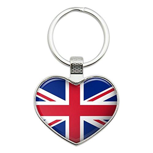 (United Kingdom Great Britain Union Jack Country Flag Heart Love Metal Keychain Key Chain Ring)