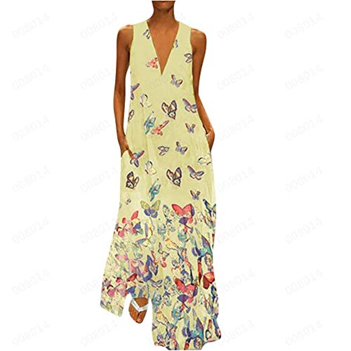 Aniywn Ladies Deep V Neck Long Dress Plus Size Casual Sleeveless Maxi Dress Women's Butterfly Printed Party Dresses Yellow ()