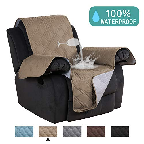 - Waterproof Recliner Chair Cover For Small Recliners Pet Quilted Sofa Covers for Leather Non Slip Furniture Protector Soft and Cotton Finish Crafted Sofa Protector/Slipcovers Taupe - 79 x 68 - Inch