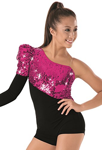 [Balera Asymmetrical Dance Biketard Ultra Sparkle Leotard with Single Long Sleeve] (Dance Team Costumes Competition)