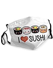 I Love Sushi Face Mask with Nose Wire Filter Pocket for Men Women Scarf Cover Black