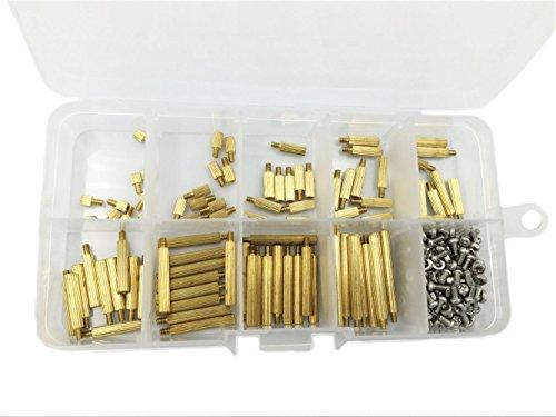 HVAZI 270pcs M2 Male Female Brass Spacer Standoff Screw Nut Assortment Kit by HVAZI