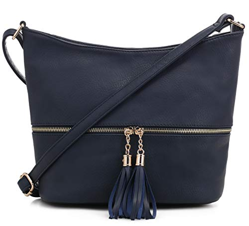 DELUXITY Medium Size Hobo Crossbody Bag with Tassel/Zipper Accent (Navy) ()