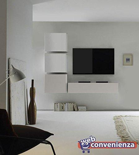 Parete Attrezzata Porta Tv Moderna.Web Convenienza Cube 22 A Bianco Lucido Parete Attrezzata