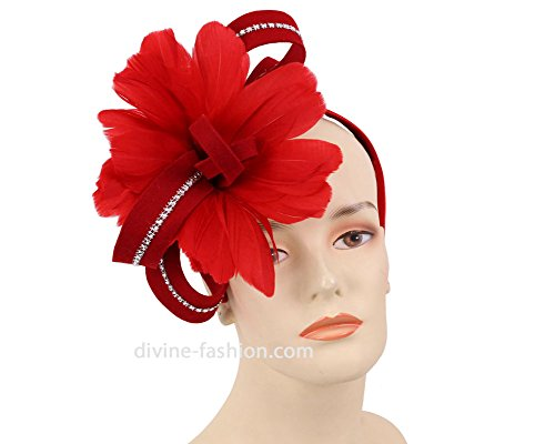 Feather Trim Red Wool Hat - Ms. Divine Collection Fascinator Hat #HK71 (Red)