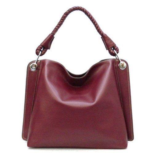 Tosca Classic Textured Shoulder Handbag,One Size,Burgundy