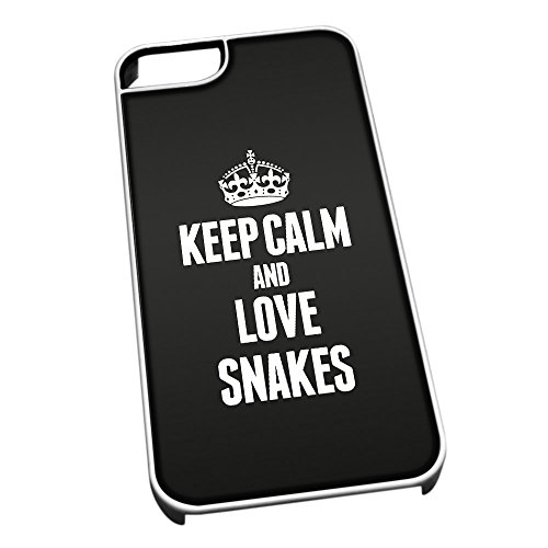 Bianco cover per iPhone 5/5S 2486nero Keep Calm and Love Snakes
