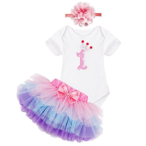 (iiniim Newborn Infant Baby Girls 1/2 Half Birthday Oufit Romper Bodysuit Top with Headband Tutu Skirt 3pcs Set Purple Pink Number 1 6-9 Months)