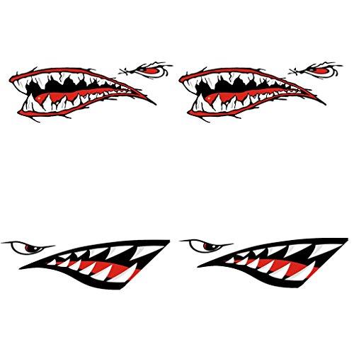 Jili Online 4 Pieces Dreadful Shark Teeth Mouth Decal Stickers for Sit on Top Kayak Canoe Ocean Boat - Waterproof and Durable Shark Fishing Kayak